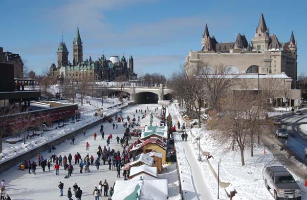 photo of skaters on Rideau Canal in Ottawa Ontario